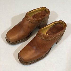 Frye Light Brown Leather Clogs.